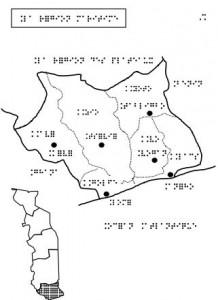 Carta braille del Togo: la regione marittima, a sud
